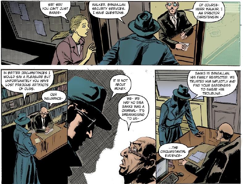 Fantomet stormer inn på kontoret til direktør Christensen